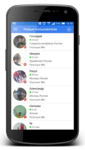 список пользователей приложения